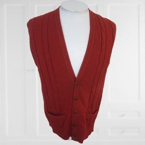 Robert Bruce vintage Mens sweater vest sz L red